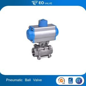 3pcs Type 2 Inch Pneumatic Actuated Stainless Steel Ball Valve