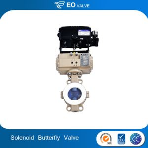 Pneumatic Actuator PTFE Corrosion Resistant Butterfly Control Valve